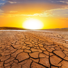sunset ower a dry land