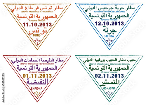 Stylised passport stamps of Tunisia in vector format.