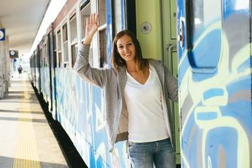 woman train station