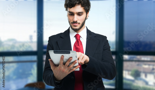 Man using a digital tablet