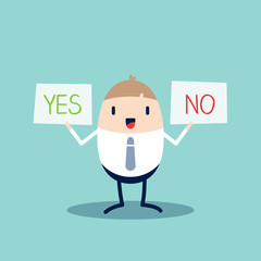 Yes or No sign Business man Cartoon character