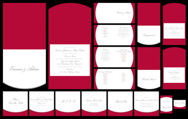 Red and silver wedding stationery set in vector format.