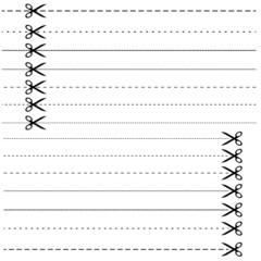 Set - Schere mit Strichlinie