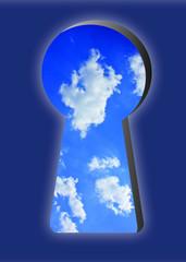 Schlüsselloch, Cloud, Himmel, Wolken, Neugirede, Globus