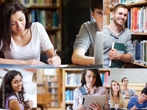 Montage of pictures showing various students