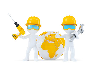 Construction workers with globe