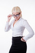 Business woman in glasses isolated
