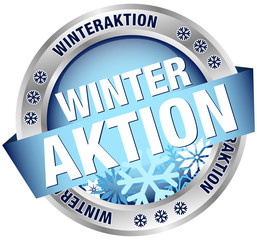 "Button Banner ""Winteraktion"" blau/silber"