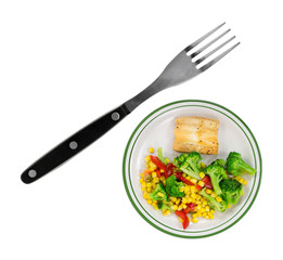 A very small plate of diet food with a large fork