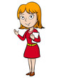 Cartoon woman greeting with paper