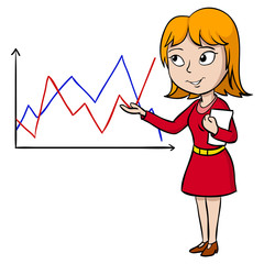 Cartoon woman present graph