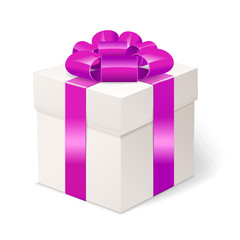White gift box with bows and pink ribbon.