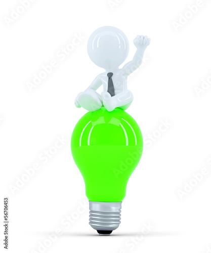 Businessman on top of the green bulb. Business idea concept