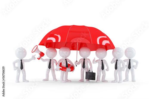 Group of businessmen under umbrella. Business safety concept