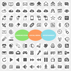 Set of Communicatiob Social Media Entertainment Icons