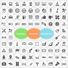 Set of Automobile Electronic Configuration Icons