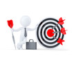 Businessman hold big archery target. Isolated