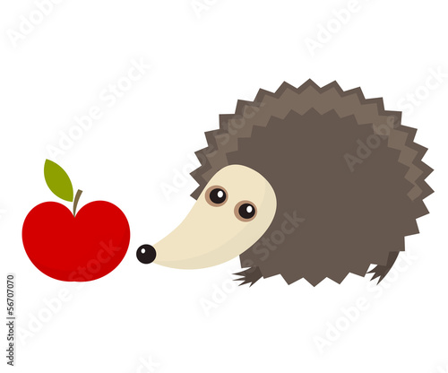 Hedgehog and apple