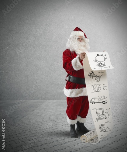 Santa Claus with gifts list