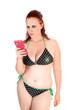 Girl in bikini with cell phone.