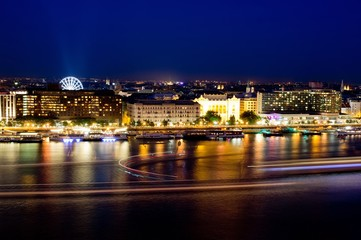 Night cityscape of the city Budapest, Hungary with light trails