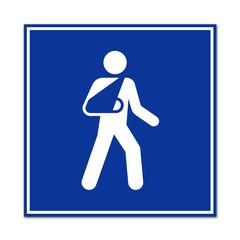 Cartel simbolo sanitario hombre con brazo en cabestrillo