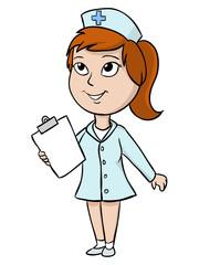 Cartoon nurse with blank tablet
