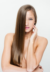Fashion model with long straight hair.