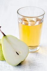 Healthy detox meal of apple juice, pear and prunes
