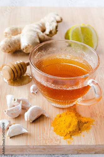 Ginger tea with lemon. honey and tumeric for detox