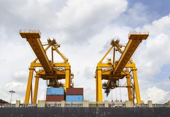 Port cargo crane in harbor