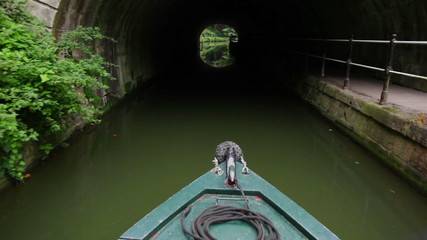 Canal Boat Through Tunnel