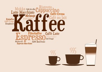 Karte - Kaffeezubereitungen mit Tassen
