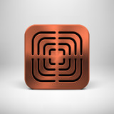 Technology App Icon Template with Bronze Metal Texture