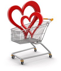 Shopping Cart and hearts (clipping path included)