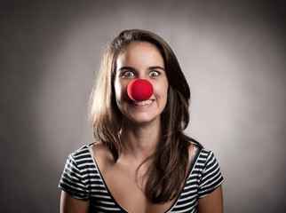 girl with a clown nose