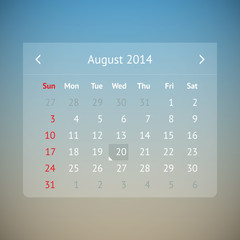 Calendar page for August 2014