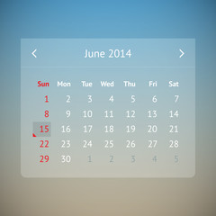 Calendar page for June 2014