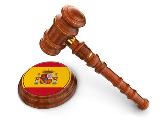 Wooden Mallet and Spanish flag (clipping path included)