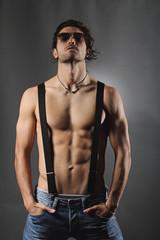Studio shot of a sexy shirtless man
