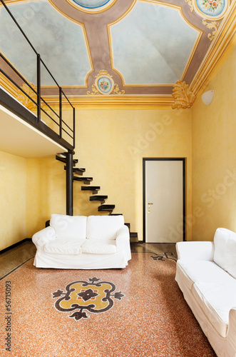 apartment in historic building, modern furnishing