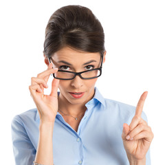 Businesswoman Holding Eyeglasses