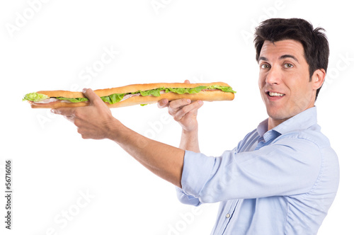 Happy Man Holding Long Baguette Sandwich
