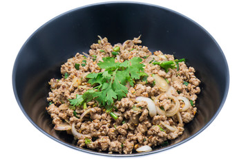 Spicy minced pork in the dish