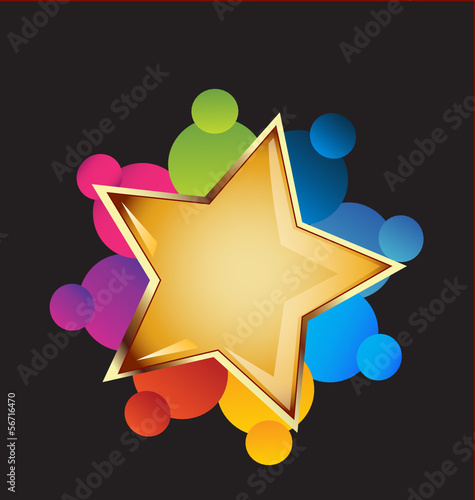 Teamwork and gold star vector logo