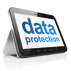 Protection concept: Data Protection on tablet pc computer