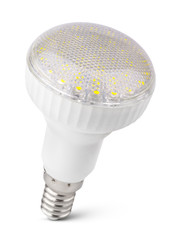 Closeup of newest LED light bulb on white with clipping path