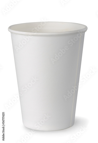 Empty white paper cup