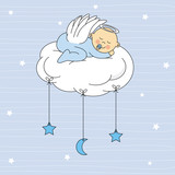 baby boy sleeping on a cloud. Birthday Card