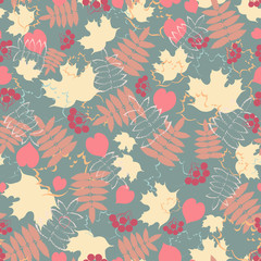 Autumn foliage. Vector seamless colorful pattern background.